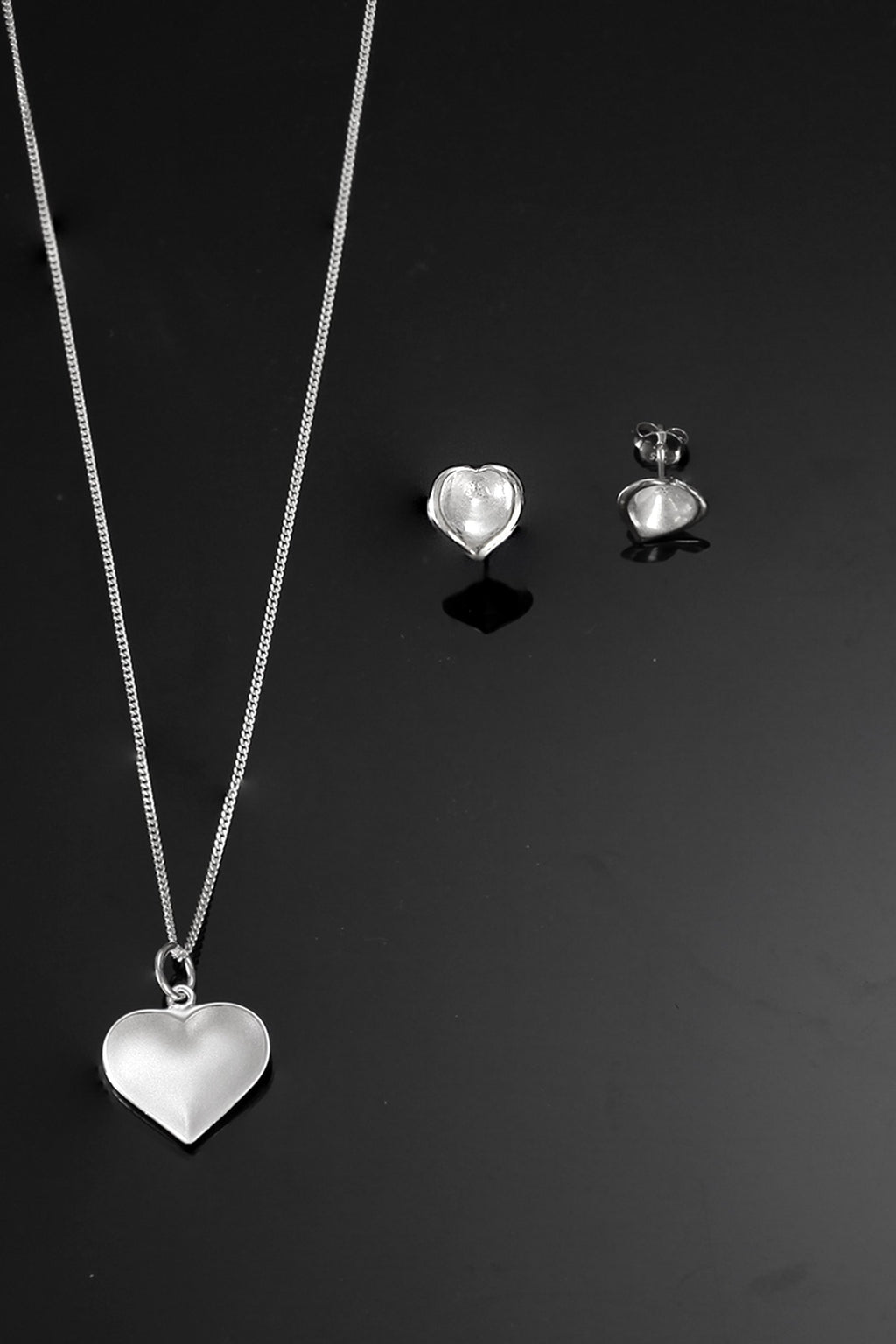 Brushed Silver Heart Set