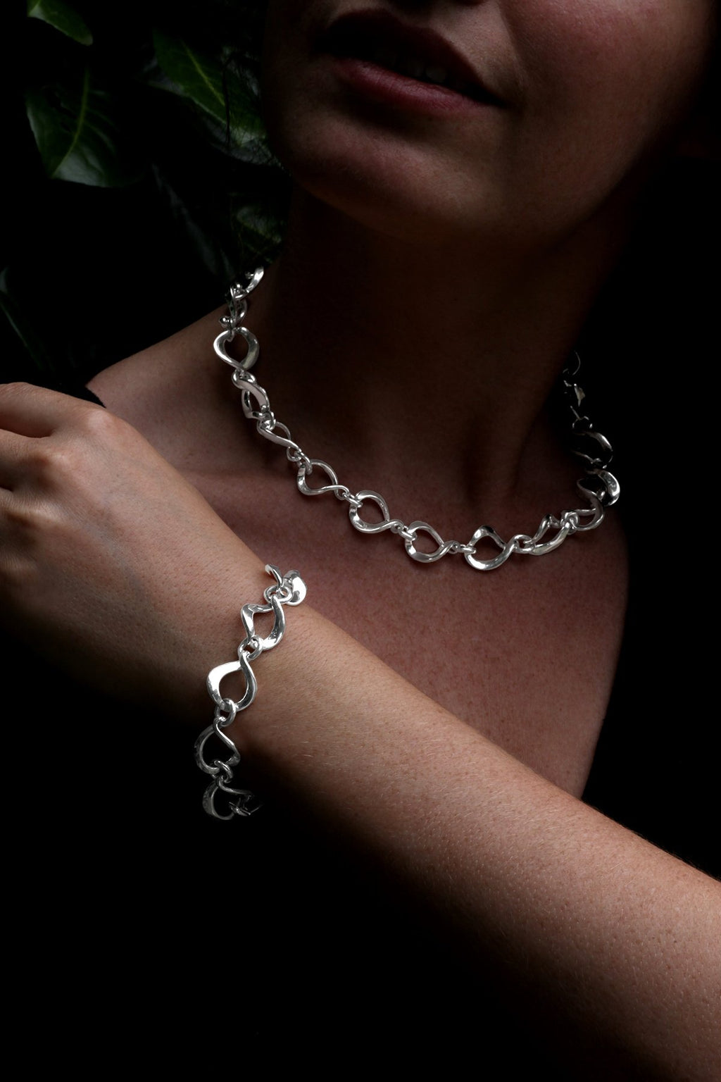 Silver Chunky Chain Set