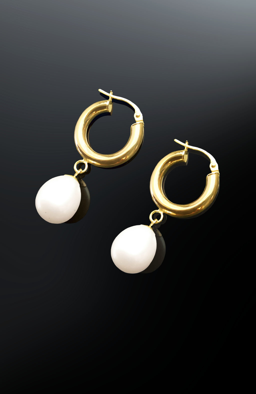 Pearl Drop Gold Hoop Earrings