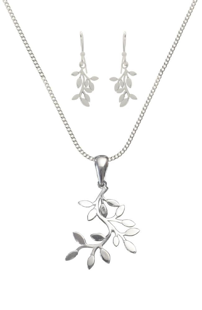 Silver leaf branch Earrings & Pendant Set / Nina B Jewellery
