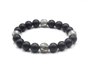 Matte Black Onyx and Sterling Silver Beads Bracelet, Onyx Bracelet, Men's Silver Beads Bracelet