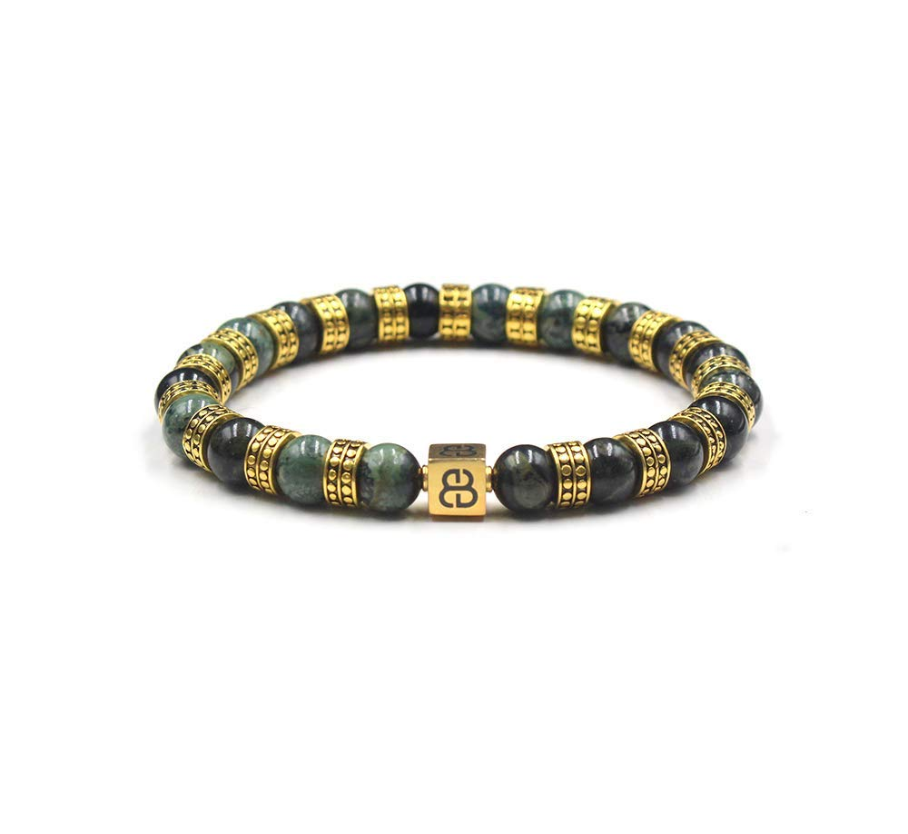 Men's Jade and 22 Karat Gold Bracelet, Men's Jade and Gold Bracelet, Men's Gold Beads Bracelet
