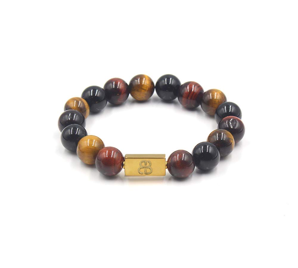 Mixed Tiger's Eye and Gold Beads Bracelet, Tiger's Eye Bracelet, Designer Beads Bracelet