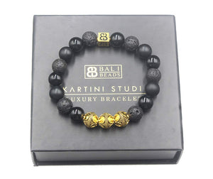 Mixed Black Stone and 22 Karat Gold Bracelet, Men's Beaded Bracelet, Onyx and Lava Bracelet