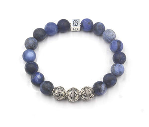 Matte Sodalite and Sterling Silver Bracelet, Men's Luxury Bracelet, Men's Designer Bracelet