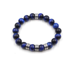 Tiger's Eye Bracelet, Blue Tiger's Eye and Sterling Silver Bali Beads Bracelet, Men's Designer Bracelet