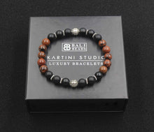 Load image into Gallery viewer, Matte Black Onyx, Mahogany Obsidian, and Sterling Silver Bracelet, Bead Bracelet Men