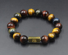 Load image into Gallery viewer, Mixed Tiger's Eye and Gold Beads Bracelet, Tiger's Eye Bracelet, Designer Beads Bracelet