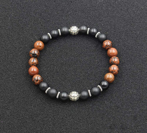 Matte Black Onyx, Mahogany Obsidian, and Sterling Silver Bracelet, Bead Bracelet Men