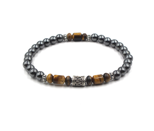 Hematite, Tiger's Eye and Sterling Silver