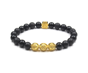 Mixed Black Stone and Gold
