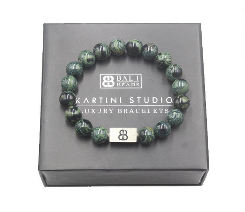 Dark Green Jade and Silver