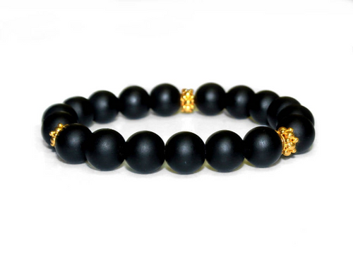 Matte Black Onyx and Gold Vermeil