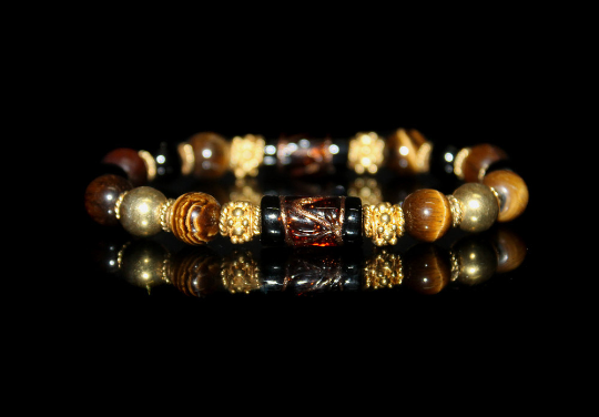 Gold Vermeil, Tiger's Eye, Black Onyx, and Smoked Topaz Lampwork Beads Bracelet