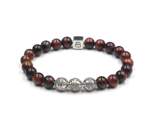 Red Tigers Eye and Silver