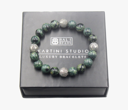 Dark Green Jade and Sterling Silver