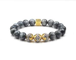 Hawk Eye Stone, Gold and Silver