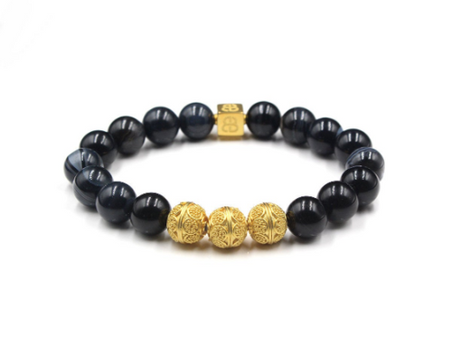 Black Striped Onyx and Gold