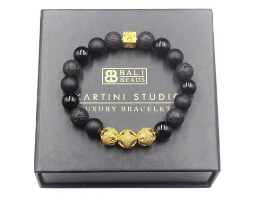 Black Onyx and Lava Stone Gold Vermeil  Bracelet