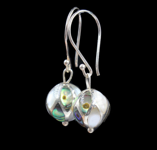 Mother of Pearl and Sterling Silver Bead Earrings
