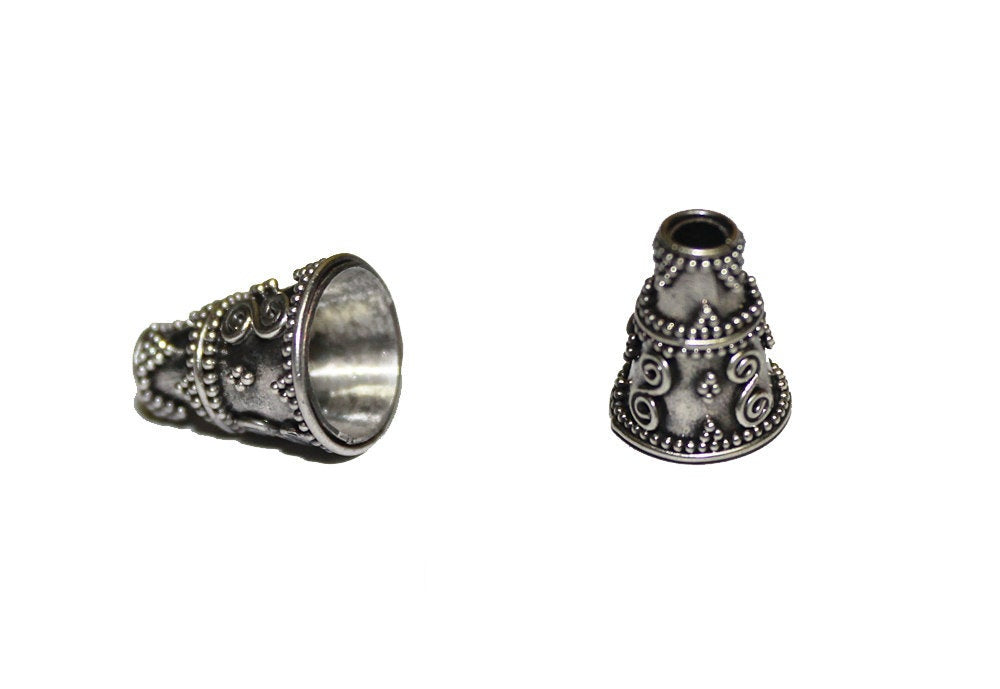 Two x Sterling Silver Cone Bead Caps