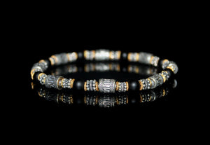 Onyx, Sterling Silver, and Gold Vermeil