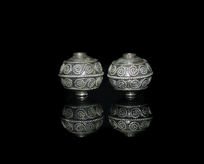 Two 15mm Sterling Silver Bali