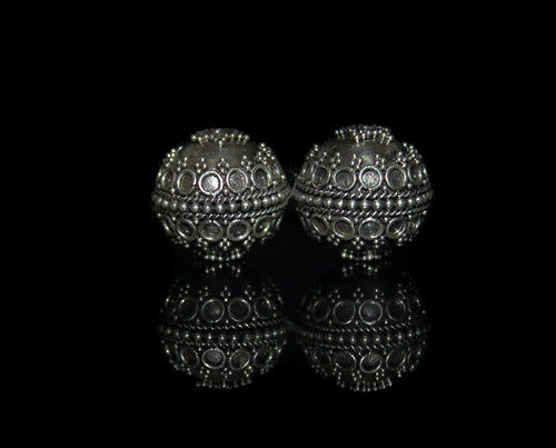 Two 18mm Sterling Silver Granulation Beads