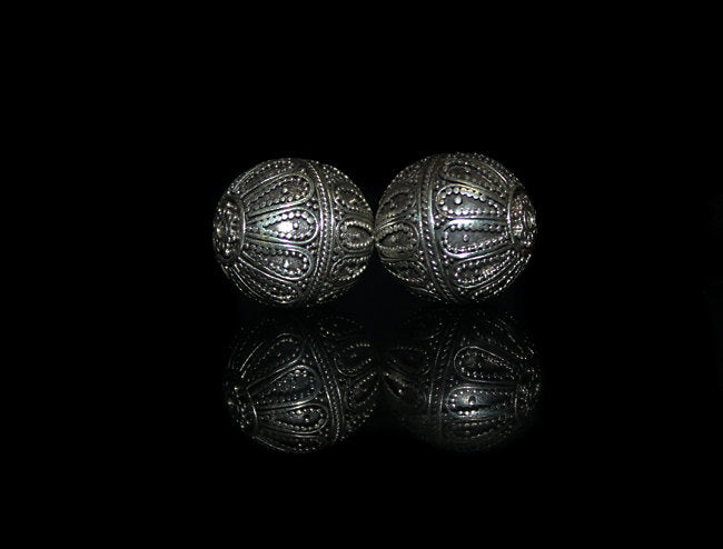 Two 20mm Sterling Silver Granulation Beads