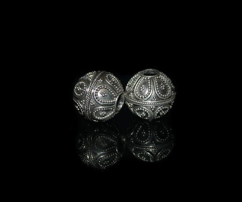 Two 15mm Sterling Silver Beads