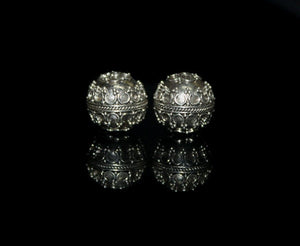 Two 13mm 925 Sterling Silver Granulation Beads