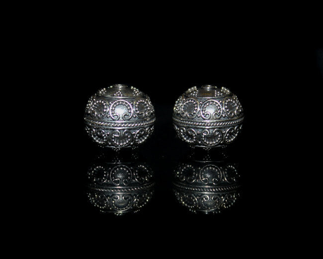 Two 14mm Sterling Silver Beads