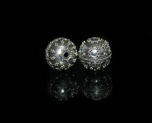 Two 15mm Sterling Silver Bali Granulation Beads