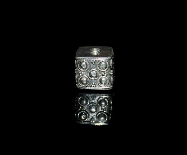 Single 14mm Sterling Silver Cube Bead