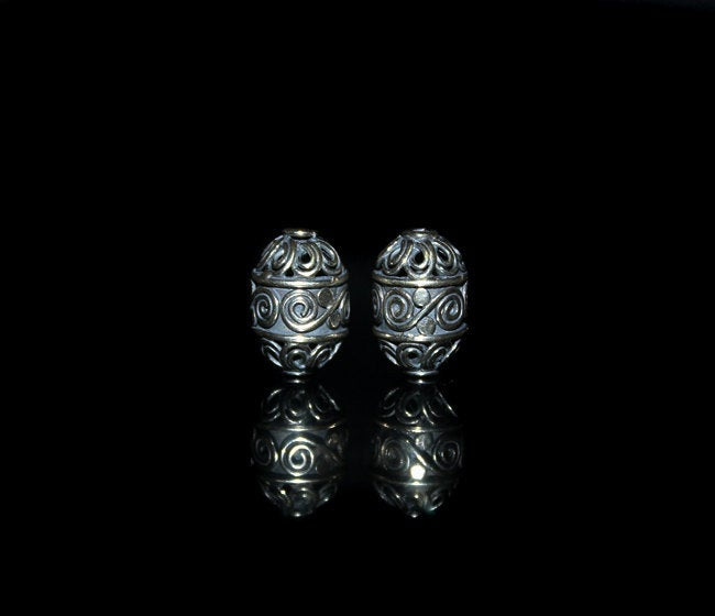 Two 14mm x 8mm Sterling Silver Beads