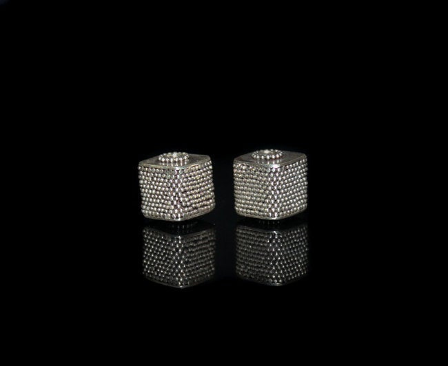 Two 12mm Sterling Silver Granulation Cube Beads