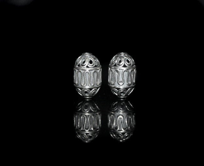 Two 16mm x 10mm Sterling Silver Beads
