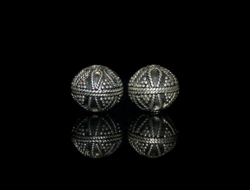 Two 14mm Sterling Silver Granulation Beads