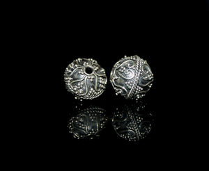 Two 12mm Sterling Silver Bali Beads