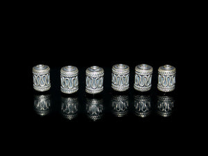 Six 8mm Sterling Silver Tube Beads