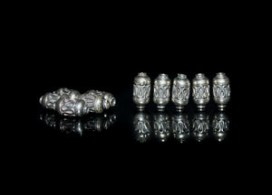 Ten x 10mm x 4mm Sterling Silver Tube Beads