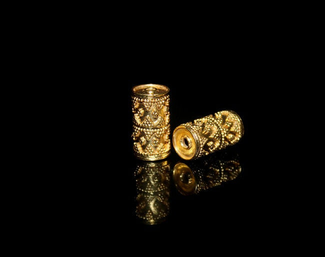 Two 17mm Gold Vermeil Tube Beads
