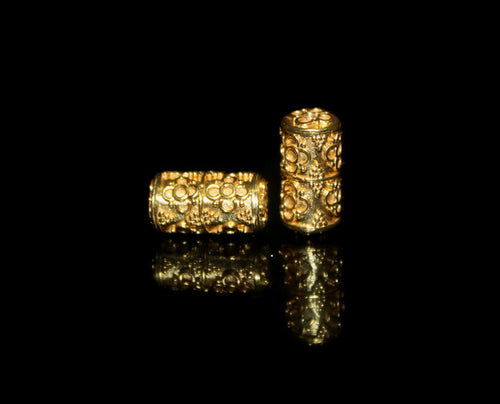 Two 16mm Gold Vermeil Tube Beads