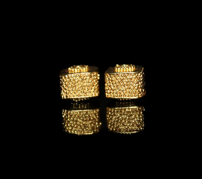 Two 9mm Gold Vermeil Granulation Cube Beads