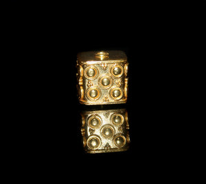 Single 15mm x 15mm Gold Vermeil Cube Bead