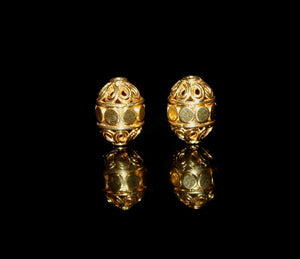 Two 13mm Gold Vermeil Bali Beads
