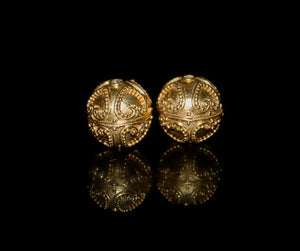 Two 11mm 22 Karat Gold Vermeil Beads