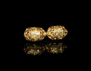 Two 14mm x 8mm Gold Vermeil Beads