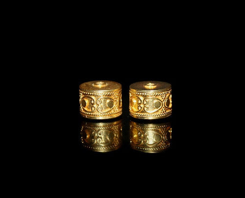 Two 12mm Gold Vermeil Drum Beads