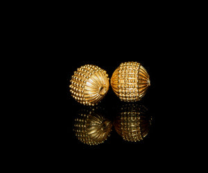 Two 13mm Gold Vermeil Fluted Beads